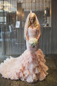 Elegant Pink Sleeveless Sweetheart Tiered Tulle Wedding Dress Long Bridal Gown - EVERISA