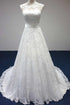 Elegant White Scoop Neck Backless Lace Wedding Dress Bridal Gown With Sash Bowknot