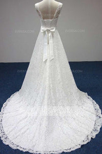 Elegant White Scoop Neck Backless Lace Wedding Dress Bridal Gown With Sash Bowknot - EVERISA