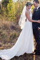 Simple White Sleeveless Halter Backless Chiffon Wedding Dress Lace Bridal Gown - EVERISA