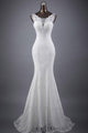 New White Mermaid Scoop Neck Backless Lace Wedding Dress Bridal Gowns