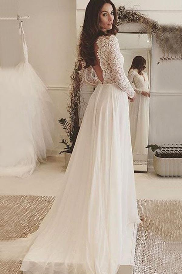 3d3ae12b3e38 Sexy White Long Sleeves V-Neck Chiffon Wedding Dress Bridal Dress With Lace  - EVERISA