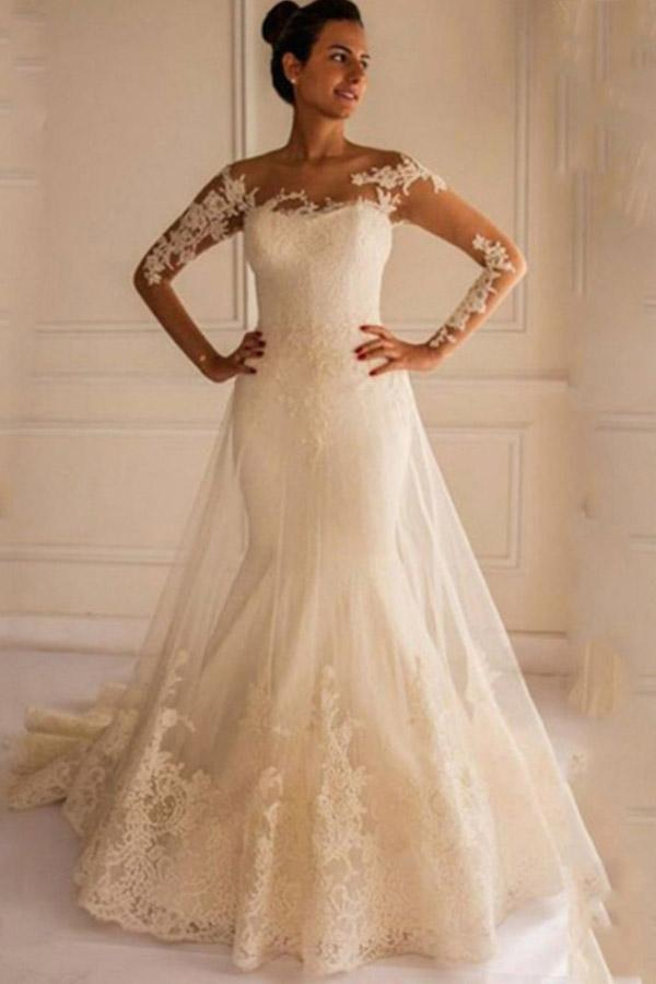 White Long Sleeves Backless Tulle Wedding Dresses Lace Bridal Gowns
