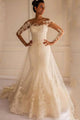 Fashion White Long Sleeves Backless Tulle Wedding Dresses Lace Bridal Gowns - EVERISA