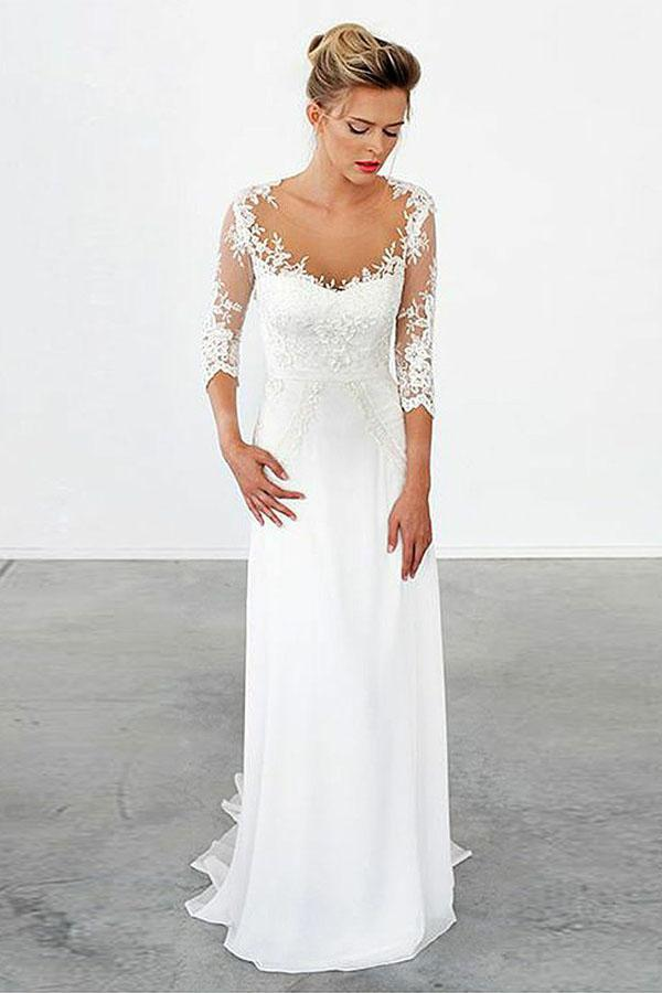 0757e3ce4174 Elegant White Scoop Neck Empire Waist Chiffon Wedding Dress Lace Bridal Gown  - EVERISA
