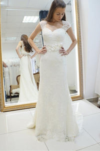 Elegant White Sweetheart Backless Lace Appliques Wedding Dress Bridal Gown With Sash - EVERISA