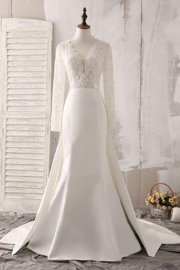a9f7da3d419 Charming White V-Neck Long Sleeves Satin Wedding Dress Beaded Lace Bridal  Gowns - EVERISA