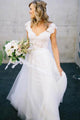 Charming Cap Sleeves Backless Tulle Wedding Dress Cheap Bridal Gown With Lace - EVERISA