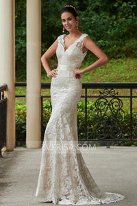 Charming White V-Neck Open Back Lace Wedding Dress Bridal Gown With Sash - EVERISA