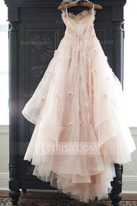 Brilliant Pink Sweetheart Open Back Tulle Wedding Dress Bridal Gown With Flowers - EVERISA