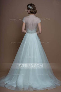 Elegant White A-Line Cap Sleeves Tulle Wedding Dresses Long Bridal Gowns - EVERISA