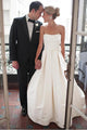 New Ivory Strapless Backless Satin Wedding Dresses Long Bridal Gown With Ruched - EVERISA