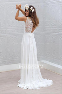 Unique White V-Neck Empire Backless Chiffon Wedding Dresses Bridal Gown With Lace - EVERISA
