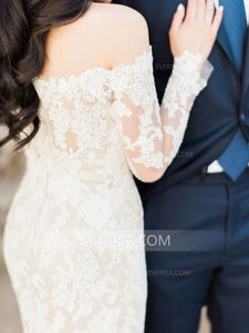Unique Ivory Mermaid Off Shoulder Backless Lace Wedding Dress Bridal Gown - EVERISA