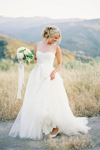 Simple White Sleeveless Scoop Neck Tulle Wedding Dress Long Bridal Gown - EVERISA