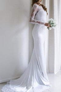 New White Long Sleeves Backless Satin Wedding Dress Bridal Gowns With Lace