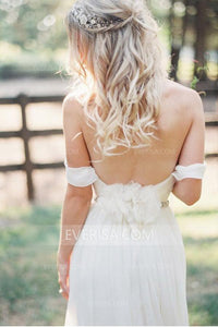 Sexy White Off Shoulder Open Back Chiffon Wedding Dress Bridal Gown With Beading Sash - EVERISA