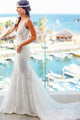 Sexy White Mermaid V-Neck Sleeveless Lace Wedding Dress Inexpensive Bridal Gown - EVERISA