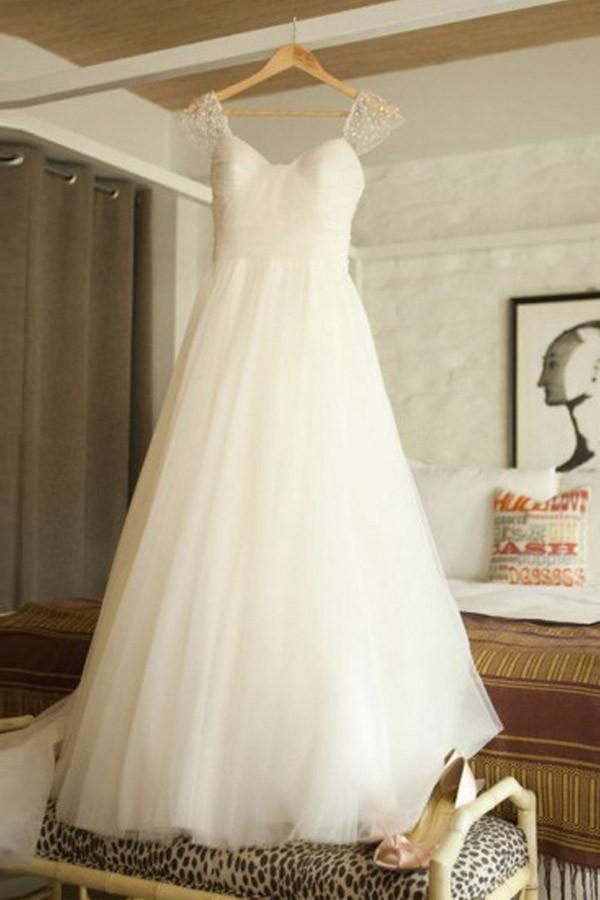 814f7a5344c1 2018 White Cap Sleeves Empire Backless Tulle Wedding Dress Bridal Gown With  Beading Pleated - EVERISA