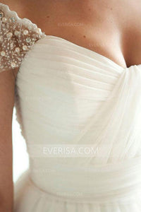 2018 White Cap Sleeves Empire Backless Tulle Wedding Dress Bridal Gown With Beading Pleated - EVERISA