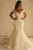 Elegant White Mermaid Off Shoulder Empire Lace Wedding Dress Bridal Gown - EVERISA