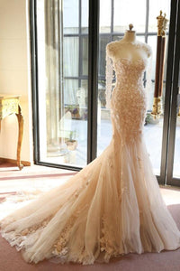 Elegant Blush Pink Long Sleeves Sweetheart Tulle Wedding Dresses Bridal Gown With Flowers - EVERISA