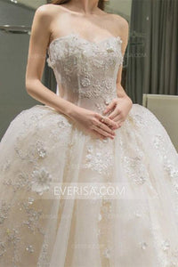 Luxury White Sweetheart Sleeveless Tulle Wedding Dress Bridal Gown With Appliques Bownot - EVERISA