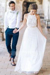 Charming White Halter Sleeveless Tulle Wedding Dress Long Bridal Gown With Lace - EVERISA