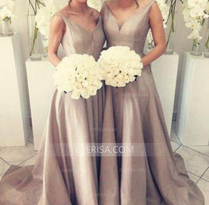 Simple Gray V-Neck Satin Evening Dresses Long Bridesmaid Dresses With Sleeveless