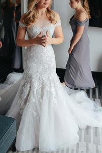 Elegant White Mermaid Off Shoulder Tulle Bridal Gown Wedding Dress With Lace Appliques - EVERISA