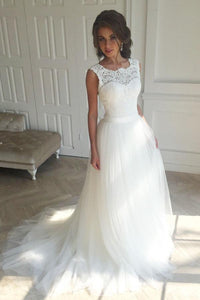 Brilliant White Scoop Neck Sleeveless Tulle Wedding Dresses Lace Bridal Gown - EVERISA