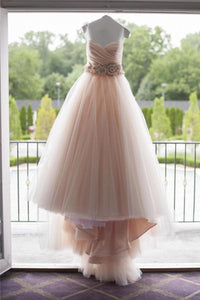Fashion Blush Pink Sleeveless Strapless Tulle Wedding Dress Bridal Gown With Flowers Beading - EVERISA