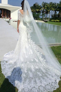 Elegant Half Sleeves Off Shoulder Lace Wedding Dress Long Bridal Gown - EVERISA