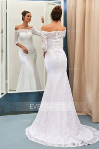 Elegant White Mermaid Off Shoulder Empire Waist Lace Wedding Dress Bridal Gown - EVERISA