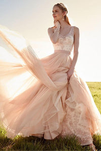 Luxury Blush Pink V Neck Sleeveless Detachable Skirt Tulle Wedding Dress Bridal Gown With Lace - EVERISA