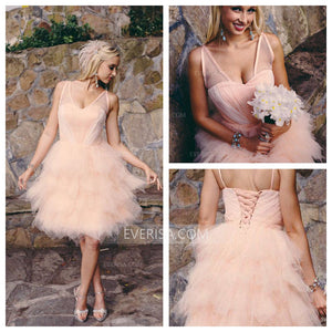 Elegant Blush Pink Sleeveless Backless Layered Tulle Wedding Dress Bridal Gowns - EVERISA