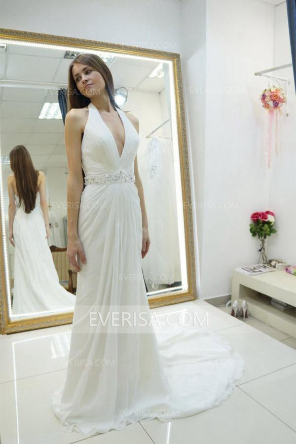 99085bf44d48 Sexy White Halter Open Back Chiffon Wedding Dresses Bridal Gown With  Beading Sash - EVERISA
