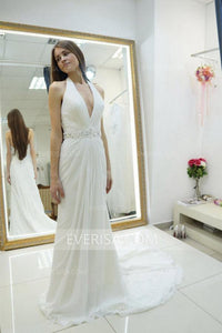Sexy White Halter Open Back Chiffon Wedding Dresses Bridal Gown With Beading Sash - EVERISA