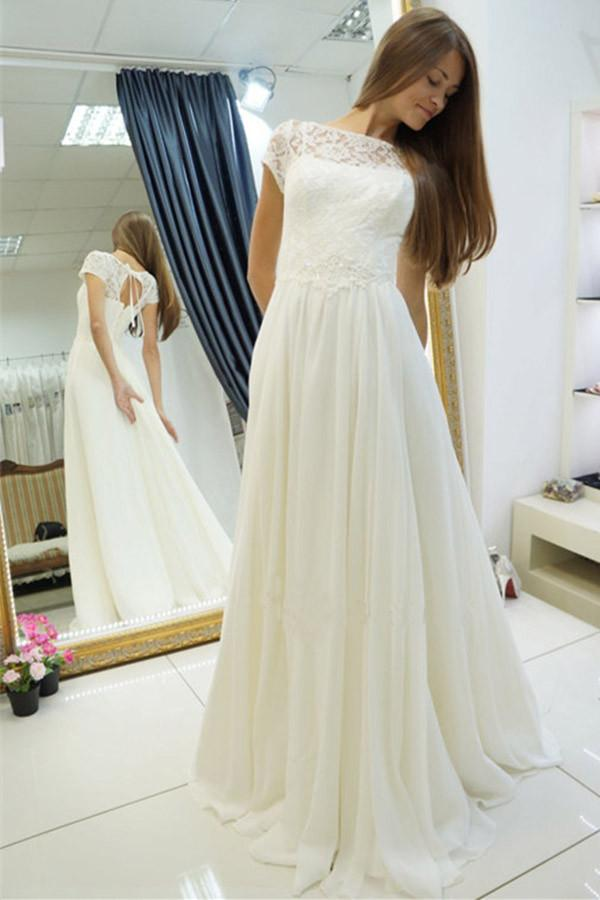 0019712b7a44 Simple White Scoop Neck Cap Sleeves Chiffon Wedding Dress Bridal Gown With  Lace - EVERISA