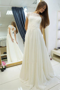 Simple White Scoop Neck Cap Sleeves Chiffon Wedding Dress Bridal Gown With Lace - EVERISA