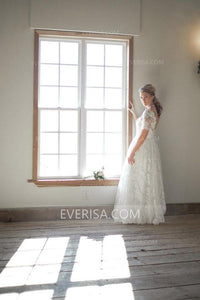 New White Short Sleeves Backless Lace Wedding Dresses Long Bridal Gown