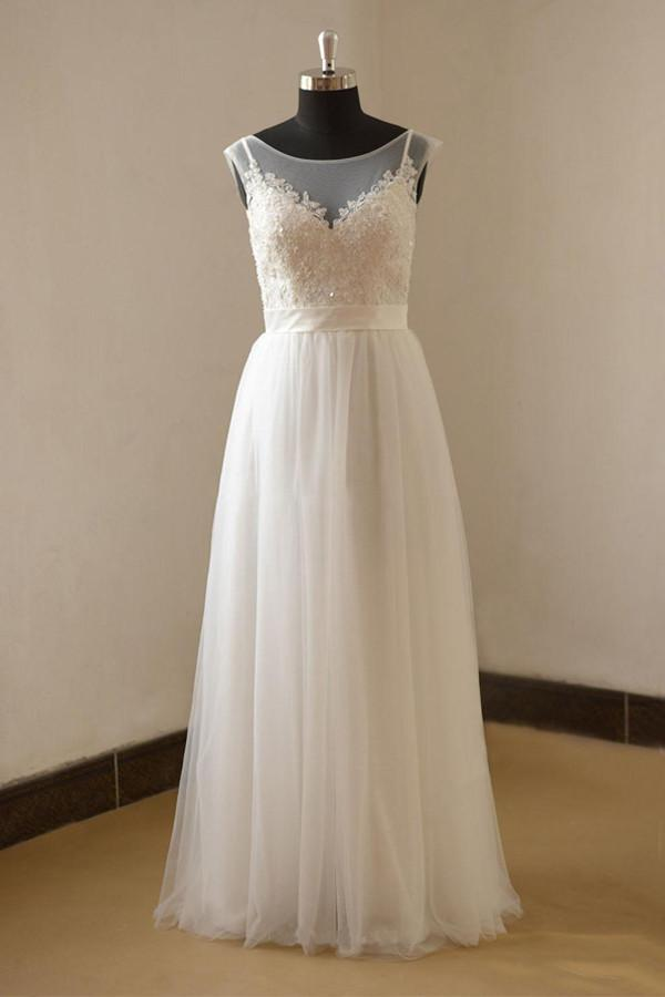 eda428abf0f1 New White Cap Sleeves Empire Waist Lace Wedding Dress Long Bridal Gowns