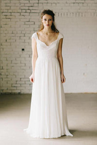 Simple White Cap Sleeves Backless Chiffon Wedding Dress Bridal Gown With Lace - EVERISA