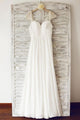 Simple Cap Sleeves Backless Chiffon Wedding Dress Pleated Bridal Gown With Beading - EVERISA