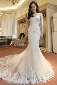 Gorgeous White Mermaid Long Sleeves Tulle Wedding Dress Lace Bridal Gown With Beading - EVERISA