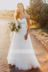 2018 White Sweetheart Sleeveless Empire Tulle Wedding Dress Lace Bridal Gowns - EVERISA