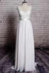 Unique White A-Line Empire Open Back Chiffon Bridal Gown Wedding Dresses With Lace