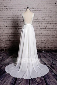 Unique White A-Line Empire Open Back Chiffon Bridal Gown Wedding Dresses With Lace - EVERISA
