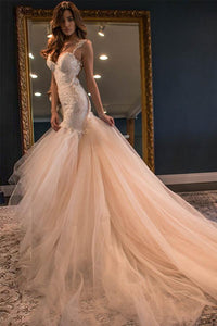 Unique Pink Mermaid Sleeveless Tulle Bridal Gown Long Wedding Dress With Lace - EVERISA