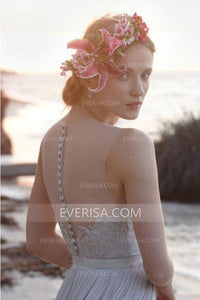 Simple Pale Blue Sleeveless Empire Chiffon Wedding Dress Beach Lace Bridal Gown - EVERISA